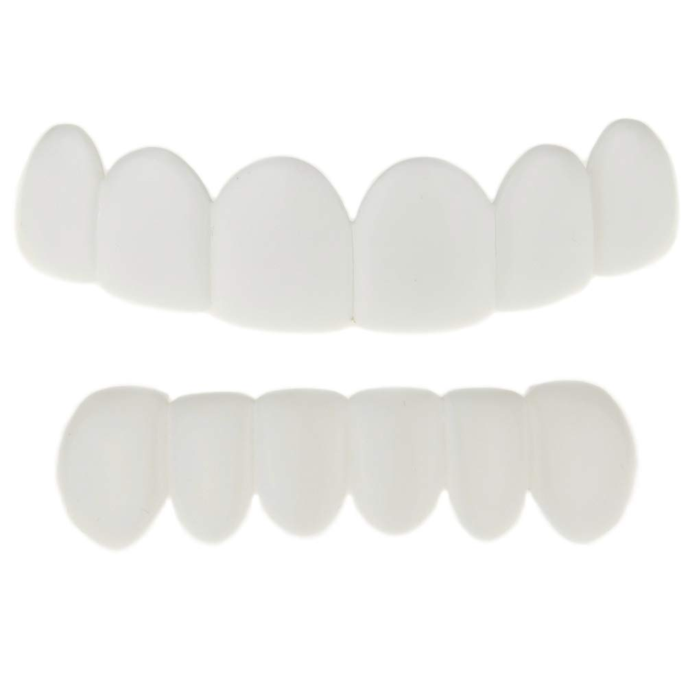White Teeth Grillz Set Top & Bottom Row Removable Plastic Grill Pre-Made Bright Smile Hip Hop Mouth Grills by Best Grillz