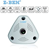 Z-BEN 360 Panoramic Wireless IP Camera 960P Home Security Surveillance System CCTV Camera Two Way Audio Video 1.3 Megapixel WiFi Support Remote View IR Night Vision Motion Detection Super Wide Angle
