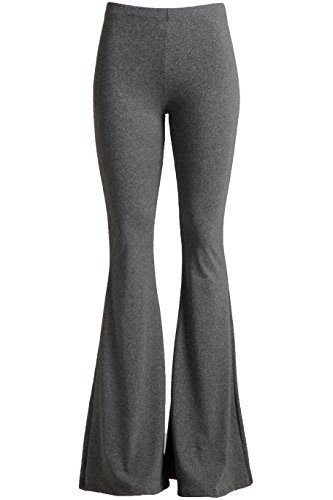 Fashionomics Womens Boho Printed Bell Bottom Stretchy Long Pants (L, H Grey)]()