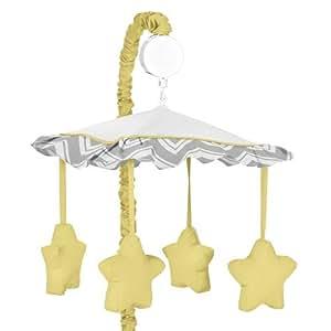 Yellow and Gray Chevron Zig Zag Musical Baby Crib Mobile by Sweet Jojo Designs