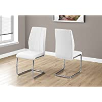 Monarch Specialties I 1075 2 Piece Dining Chair-2PCS/39' H Leather-Look/Chrome, White
