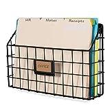 Wall35 Rivista Multipurpose Wall Mounted Farmhouse Design Basket - Wide Magazine Rack Metal Wire Black