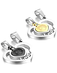 JewelryWe 2pcs His and Hers Matching Heart Love Stainless Steel Couple Pendant Necklace Set with Two Chains Christmas Decoration Ornament Gift