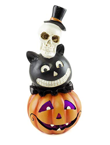 Special T Imports Skull, Cat & Jack-O-Lantern Halloween Stacked Heads Figurine ()