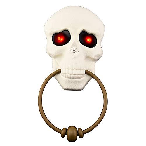 Halloween Talking Skeleton Head (Halloween Skeleton Head Doorbell Door Knocker Lightup Talking Eyeball Doorbell Hanging House Party Prop Decoration)