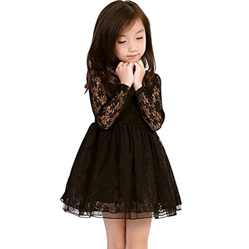 EGELEXY Little Girls' Romantic Long Sleeve Princess Dress Large Black