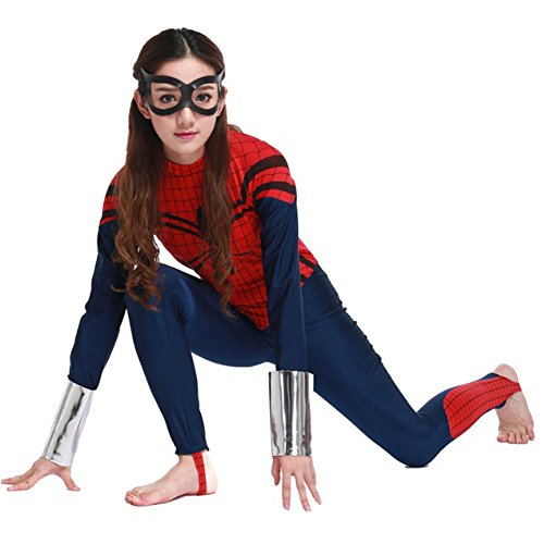 POP Style Women's Halloween One Piece Long Sleeve Spidergirl Cosplay Costume (S)