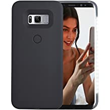 Galaxy S8 Plus Case, AUYOUWEI LED Illuminated Selfie Light Case Cover [Rechargeable] Light Up Luminous Selfie Flashlight Cell Phone Case for Samsung S8+/ Plus (Black)