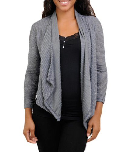 G2 Chic Women's Open Front Knit Waterfall Cardigan(TOP-CGN,GRY-S)