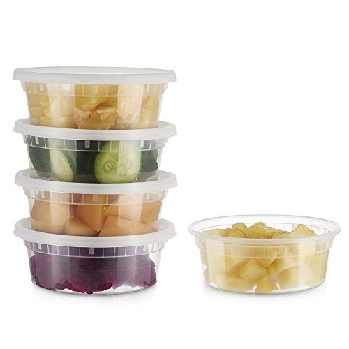 : Glotoch Deli Food Storge containers with Airtight lids Durable Plastic (24, 8oz)