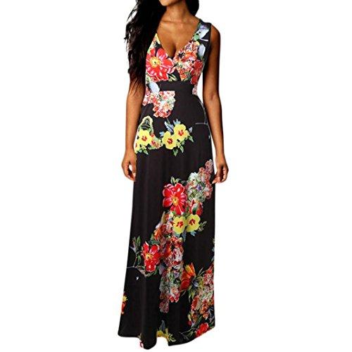 Rambling 2018 New Fashion Womens Ladies V-Neck Boho Sleeveless Tank Top Dress (Scoop Neck Drop Waist Dress)