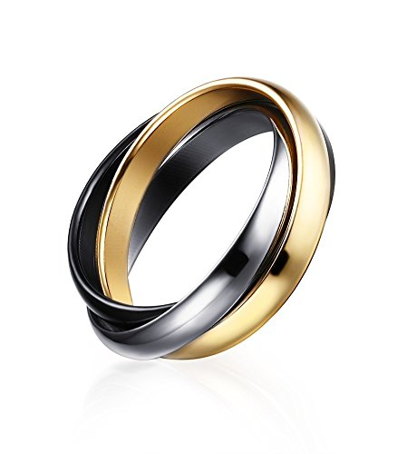 Russian Wedding Band Ring - Stainless Steel Fashion Triple 3 Tone Interlocked Trinity Russian Wedding Rings for Women, Size 9