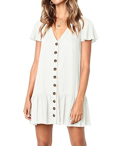 (YONYWA Women Button Down Dresses Ruffle Short Sleeve V Neck Loose Fit Mini Dress White)
