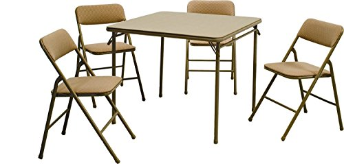 NEW expanding tray table Products 5-piece Folding Table And Chair Set, Tan (Upholstered Square Back Stacking Chairs)