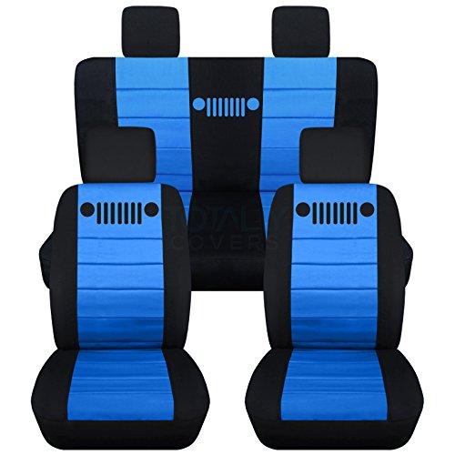 Totally Covers Fits 2007-2010 Jeep Wrangler JK Seat Covers: Black & Light Blue - Full Set: Front & Rear (23 Colors) 2008 2009 2-Door/4-Door Complete Back Solid/Split ()