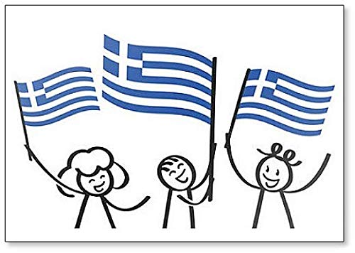 Cheering Group of Three Happy Stick Figures with Greek National Flags Fridge Magnet