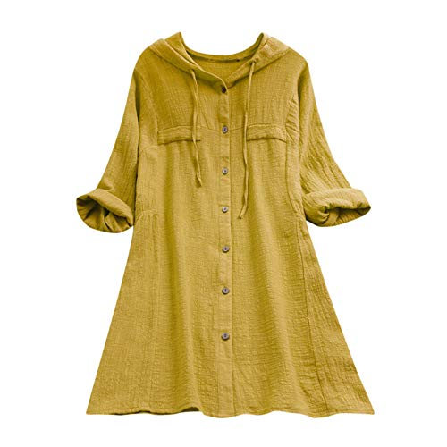 Aniywn Women Plus Size Cotton Linen Long Sleeve Hoodie Casual Button Long T-Shirt Blouse with Pocket Yellow ()