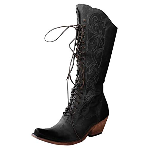 Dasuy Women Pointed Toe Mid Calf Lace up Bootie Low Stack Heel Knee High Riding Boots Retro Western Cowboy Boot