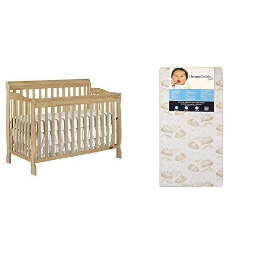 Dream On Me Ashton 5 in 1 Convertible Crib with Dream On Me Spring Crib and Toddler Bed Mattress, - Pecan 1 Crib