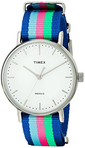 Timex Women's TW2P91700 Fairfield 37 Blue/Pink/Green Nylon Slip-Thru Strap Watch from Timex