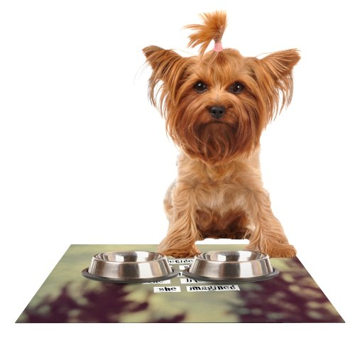 Kess InHouse Rachel Burbee Her Life  Feeding Mat for Pet Bowl, 18 by 13-Inch