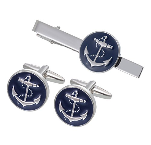 (Salutto Men's Cufflink and Tie Clip Set Fashion Special Shape (Anchor))