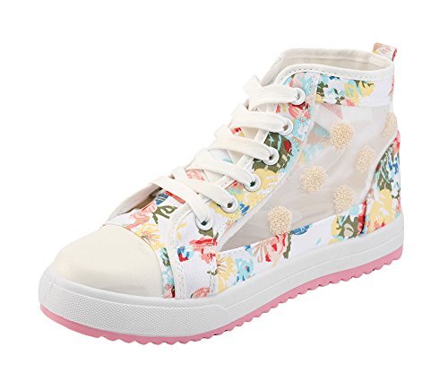 T&Mates Womens Lovely Flower Lace-up Anti-Slip High Top Fashion Sneakers (5.5 - Tips Selector Warehouse