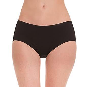 Hesta Women's Organic Cotton Period Menstrual Leak Proof Sanitary Protective Briefs Panty (XXXX-Large, Black)