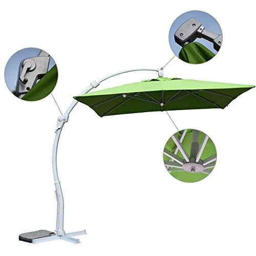 Mefo garden Deluxe OffSet Curved Hanging Patio Umbrella Outdoor Cantilever Umbrella with Tilt System &Crank Handle, Light Green For Sale