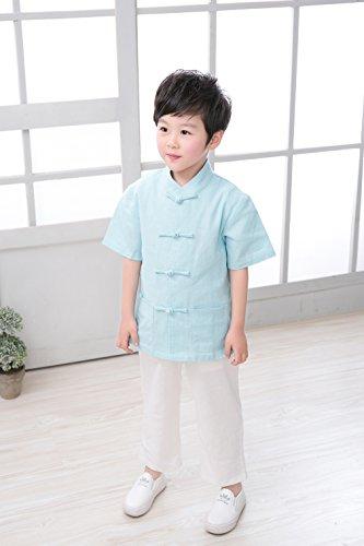 Traditionnel Kung Chemise De Chinoise Courte Claire Bleu Manche veste blouse Enfant fu Garçon Acvip Tang Avec R0nxzXE1