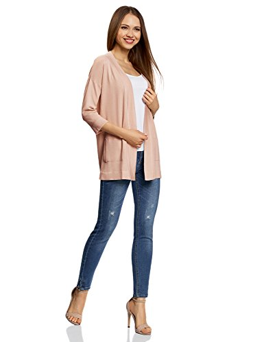 Decorative Beige Cardigan oodji 3300n Collection senza Chiusura Donna Tasche con S4wUq80fw