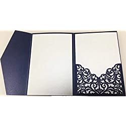 25 sets Pearl White/Ivory/Pink/Navy Blue/Burgundy paper Tri Fold Vertico pocket Laser Cut Vine Wedding Invitations Cards Hollow Carving Greeting invites Engagement Birthday Bridal Shower (navy blue)