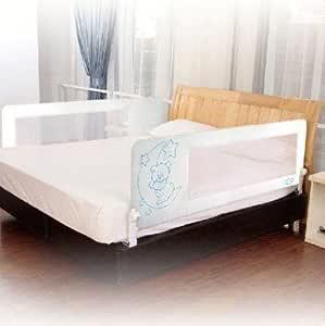 Barrera de cama para bebé, 150 x 66 cm. Modelo osito y luna celeste. Barrera de seguridad. Sello de calidad SGS.