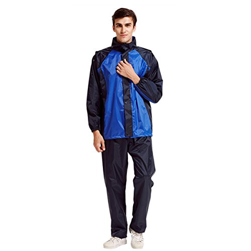 Bettery Durable Lightweight Waterproof Reflector Polyester Cycling Men's Rain Suit with Hoods for Outdoor Sports, Blue