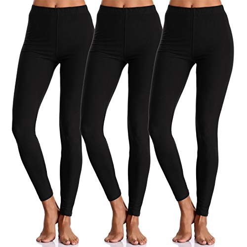 (BAILYDEL Buttery Comfortable Seamless Super Soft Ankle Leggings for Women Slim Opaque Pants Color Black Size XS - M Pack of 3)