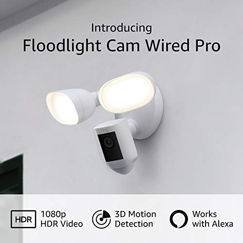 Introducing Ring Floodlight Cam Wired Pro with Bird's Eye View and 3-d Motion Detection (2021 free up), White