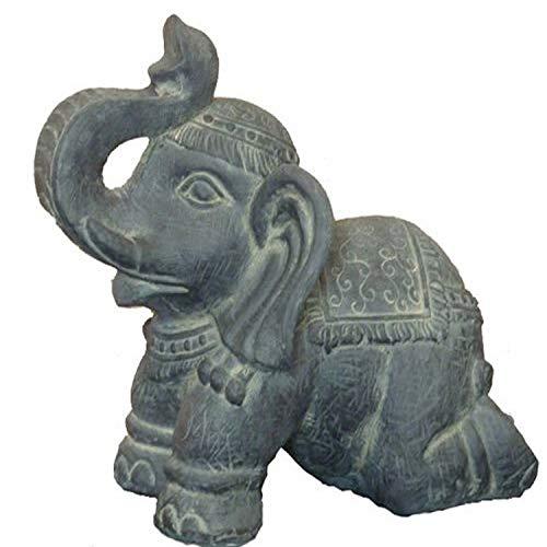 Hi-Line Gift Ltd Clay Fiber Elephant Kneeling Statues
