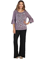 Jess & Jane Womens Mineral Washed Cotton Ruffle Sleeve Tunic Top
