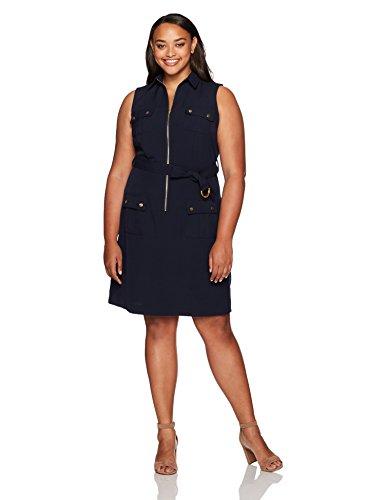 Cargo Pocket Dress (Sharagano Women's Plus Size Sleeveless Shirt Dress With Cargo Pockets, Navy, 22W)
