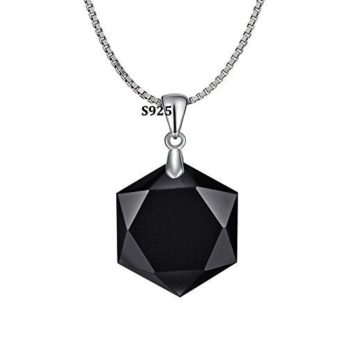 OCARLY 925 Black Obsidian/Blue Sandstone Star of David Pendant Hexagram Amulet Gemstone Stainless Steel Titanium Necklace Jewish Religious Jewelry (Obsidian Star)
