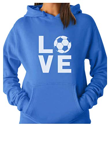 TeeStars - I Love Soccer - Gift for Soccer Players/Fans Women Hoodie Small California Blue