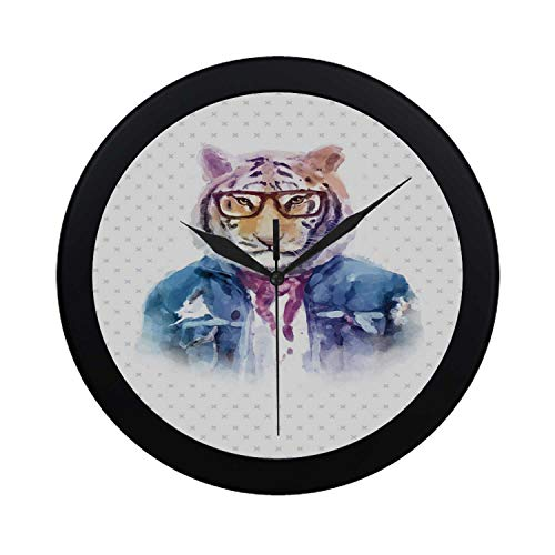 C COABALLA Quirky Decor Circular Plastic Wall Clock,Intellectual Tiger with Scarf Torn Denim Jacket and Glasses Watercolor Artwork Decorative for Home,9.65