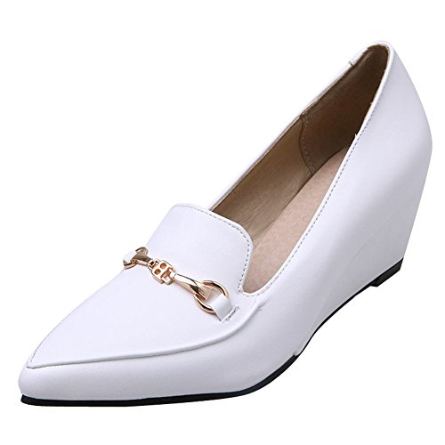 Mee Shoes Women's Lovely Wedge Mid Heel Slip On Court Shoes White