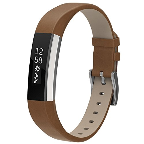 Matt Leather (For Fitbit Alta HR and Alta, Snowcinda Accessories Leather Bands for Fitbit Alta HR and Alta, Watch Band Style, Matt Brown)
