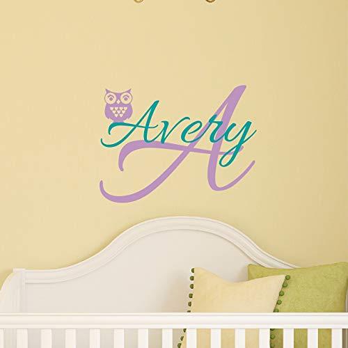 Custom Name Owl Nursery Wall Decal - Boys Girls Personalized Name Owl Wall Sticker - Custom Name Sign - Custom Name Stencil Monogram - Baby Nursery Room Wall Decor
