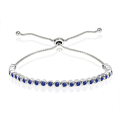 - Sterling Silver Created Blue Sapphire 2mm Round Bezel-set Adjustable Dainty Tennis Bracelet