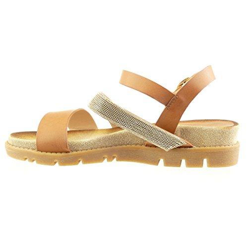 ... Angkorly - Scarpe da Moda sandali Mules donna gioielli multi-briglia  tanga Tacco zeppa 4 ...