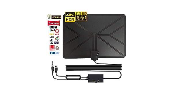 Amplificado Digital HDTV Antena Gratis TV Plano 120+ Milla Distancia para Digital y Término análogo TV Señales Apoyo 4K 1080P HD/VHF/UHF Canales: Amazon.es: Electrónica