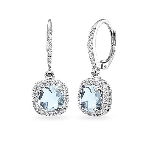 Sterling Silver Blue Topaz Cushion-Cut Dangle Halo Leverback Earrings with White Topaz (Blue Topaz Cushion Earrings)