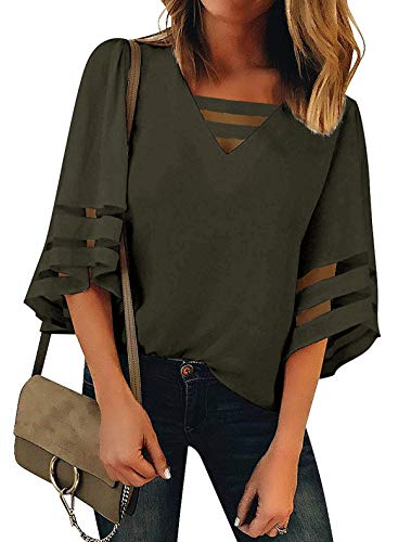 Minclouse Women's V Neck 3/4 Bell Sleeve Blouses Casual Mesh Patchwork Tops Strappy Loose ()